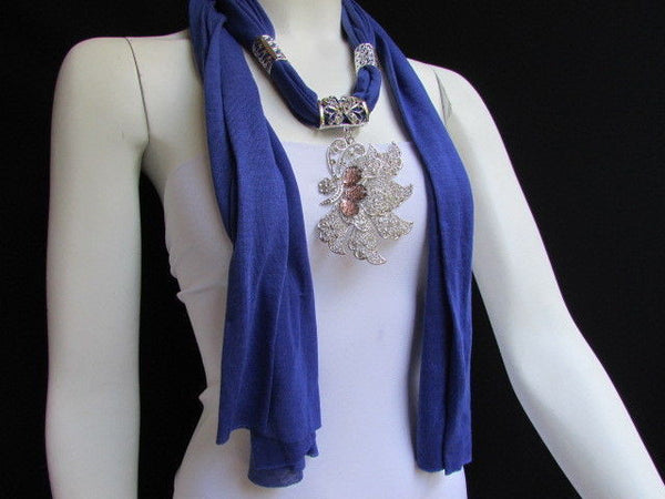 Pink Blue Black Brown Bright Coral Soft Fabric Scarf Long Necklace Big Silver Butterfly Pendant New Women Fashion - alwaystyle4you - 40