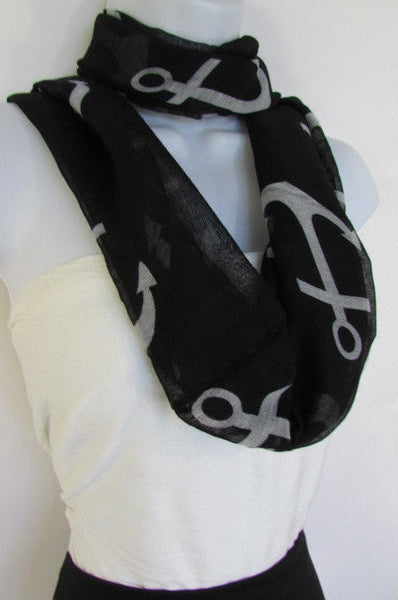 Green Aqua Pink Black White New Women Fashion Fabric Infinity Loop Scarf Big Anchor - alwaystyle4you - 43