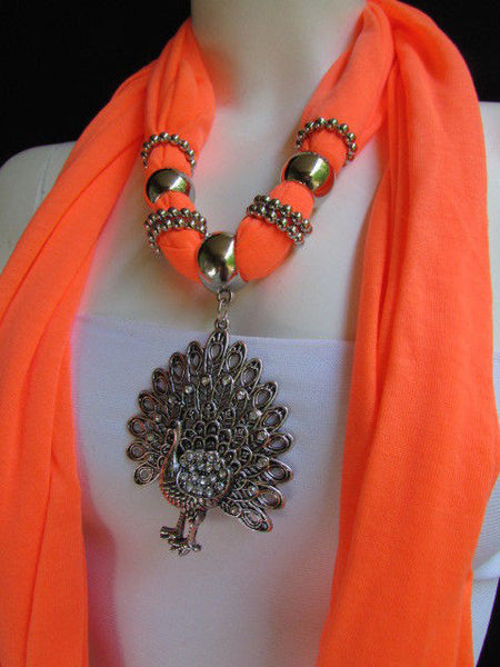 New Women Necklace Fashion Mocha Brown / Blue / Orange / Red / Green / Black Fabric Scarf Long Big Silver Peacock Pendant - alwaystyle4you - 43