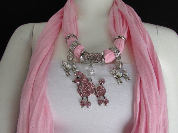 Blue, Black, L. Pink, Pink Fuscia Soft Fabric Scarf Silver Metal Poodle Dog Pendant New Women Fashion - alwaystyle4you - 45