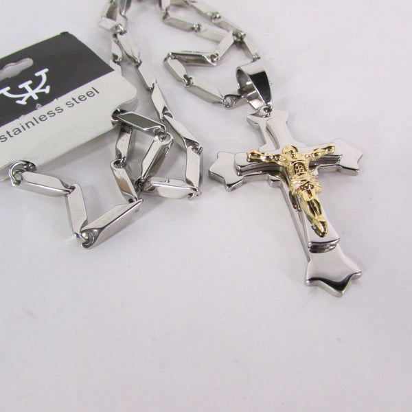 Silver Stainless Steel Metal Chain Links Necklace 3D Gold / Silver Cross Pendant New Men Classic Fashion - alwaystyle4you - 39
