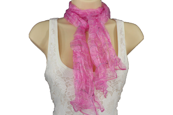 New Women Sheer Scarf Fashion Neck Wrap Long White Black Pink Blue Green Yellow - alwaystyle4you - 41