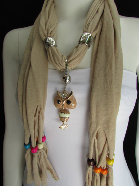 Black, Blue, Beige, Gray, White Soft Scarf Long Necklace Multicolors Wood Beads Owl Pendant New Women Fashion Accessory - alwaystyle4you - 40