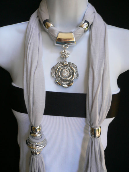 Gray Silver Flower Pendant Charm Long Necklace Fashion Elegant Scarf Women Accessories
