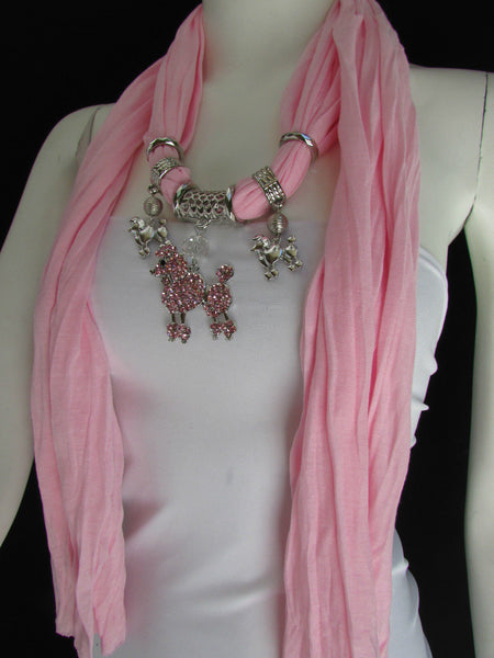 Blue, Black, L. Pink, Pink Fuscia Soft Fabric Scarf Silver Metal Poodle Dog Pendant New Women Fashion - alwaystyle4you - 46