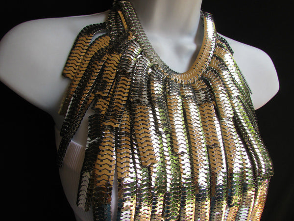 "Dressy Casual Wide Multi Strand Gold / Silver Links Chains Wide Metal New Women Necklace 20"" - alwaystyle4you - 18"