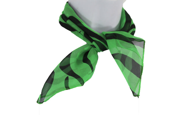 Green Neck Scarf Fabric Black Zebra Animal Print Pocket Square New Women Fashion - alwaystyle4you - 4