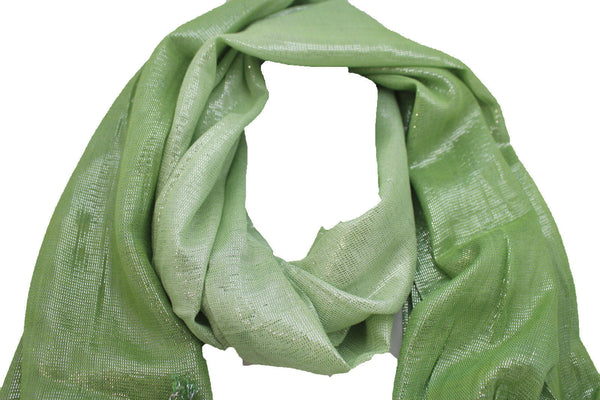 Green Neck Scarf Long Soft Fabric Tie Wrap Classic Bright Shiny New Women Jewelry Accessories - alwaystyle4you - 4