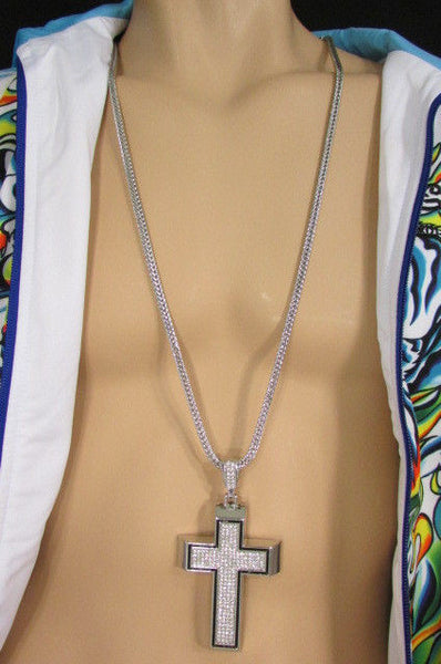 Pewter / Silver Metal Chains Long Necklace Boarded Cross Pendant New Men Hip Hop Fashion - alwaystyle4you - 9