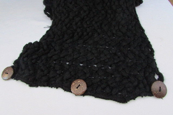 New Women Scarf Fashion Soft Fabric Winter Black / White Wide Shawl 3 Brown Wood Buttons - alwaystyle4you - 5