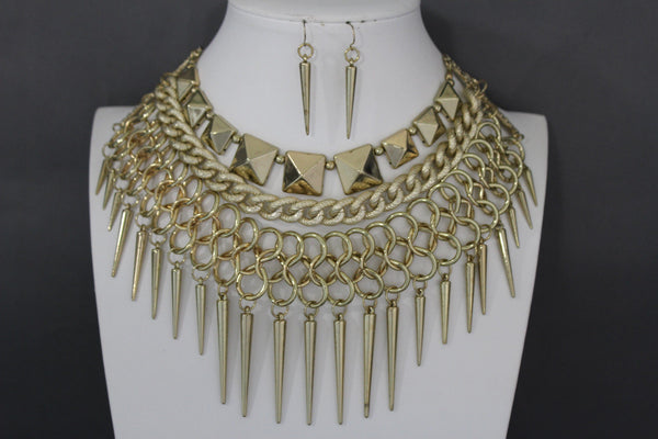 Gold / Black Gold Long Metal Chain Strand Spikes Charm Necklace + Earring Set New Women Fashion Jewelry - alwaystyle4you - 4
