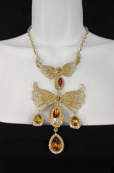 Metal Flying Wings Gold Silver Rhinestones Necklace + Earrings set New Women Fashion - alwaystyle4you - 9