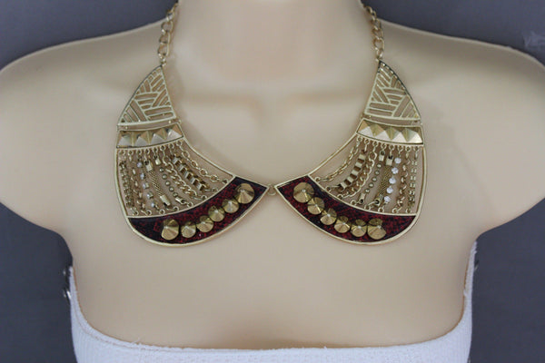 Bronze / Gold Short Bib Metal Chains Collar Spikes Necklace + Earrings Set New Women Fashion Jewelry - alwaystyle4you - 5