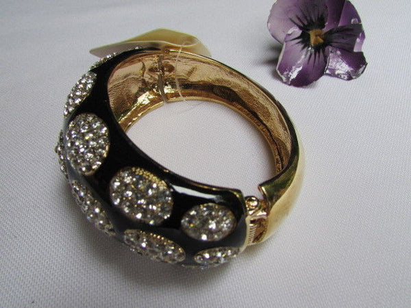 Gold Metal Wide Bracelet Black Animal Print Silver Rhinestone New Women Fashion Jewelry Accessories - alwaystyle4you - 6