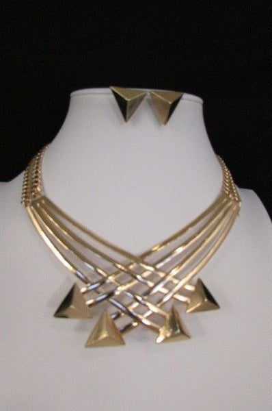 "Gold Metal Chains Arrows Strands 14"" Necklace Earring Set New Women Fashion Accessories"