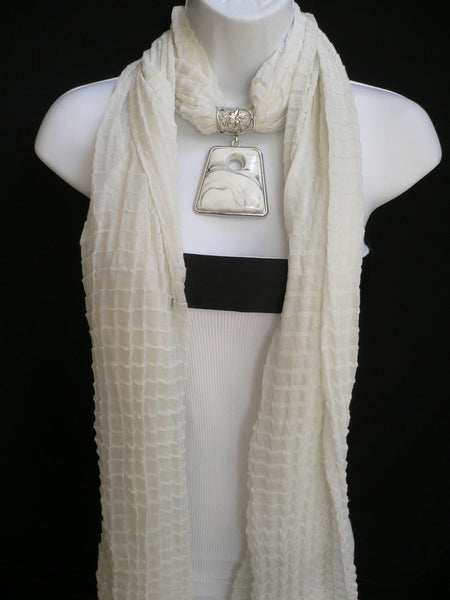 New Women Accessories White Poofy Soft Fashion Scarf Necklace Big Square Bead Pendant - alwaystyle4you - 6