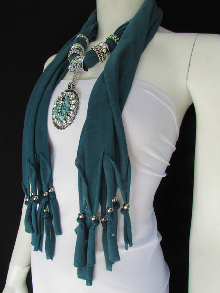 Blue Pink Beads Fabric Scarf Long Necklace Rhinestones Cross Pendant New Women Fashion - alwaystyle4you - 4