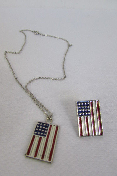 USA American Flag Star/Square/Heart Silver Metal Necklace + Matching Earring Set New Women - alwaystyle4you - 29