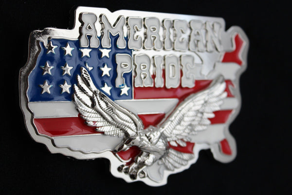 Men Western Fashion Belt Buckle Silver Metal USA Flag American Pride Eagle State - alwaystyle4you - 5