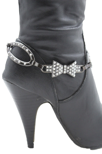 Silver Gunmetal / Pewter Metal Boot Chains Bracelet Bow Oval Anklet Bling Shoe Charm New Women Western - alwaystyle4you - 9