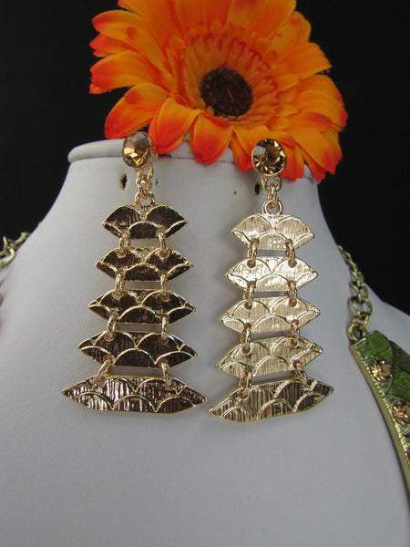 Gold /  Silver Metal Plates Snake Skin Rhinestones Necklace + Earrings Set New Women Fashion - alwaystyle4you - 5