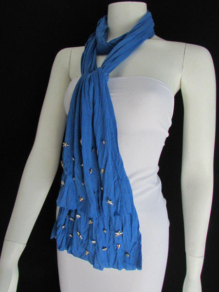New Women Soft Fabric Fashion White / Blue /  Gray / Black Scarf Long Necklace Silver Metal Stars Studs - alwaystyle4you - 16