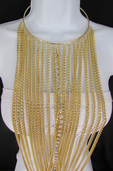 Gold Metal Choker Extra Long Chains Statement Necklace Hot Rhinestones New Women Fashion - alwaystyle4you - 12