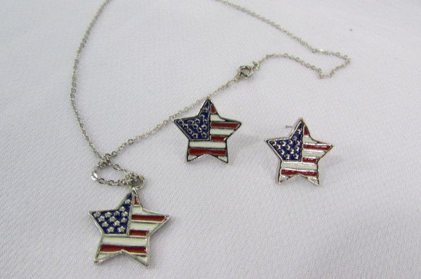 Silver Metal USA American Flag Star Square Heart Necklace Matching Earring Set Women Accessories