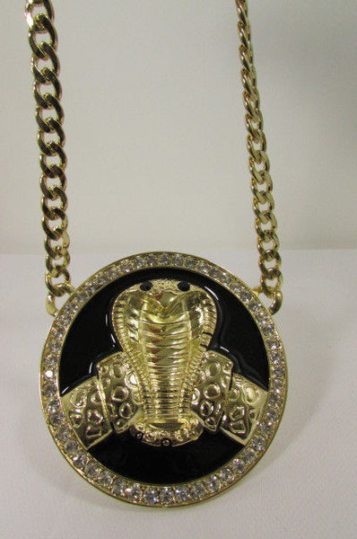 Gold Metal Black Huge Cobra Large Snake Necklace Big Pendant New Men Fashion Style - alwaystyle4you - 11