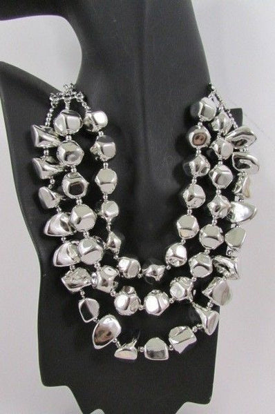 Long Shiny Silver Plastic Beads 3 Strands Fashion Necklace + Earring Set New Women - alwaystyle4you - 9