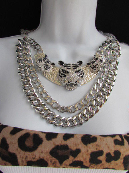 Wide Silver Chain Panther Tiger Safari Pendant Necklace + Earring Set New Women Fashion - alwaystyle4you - 4