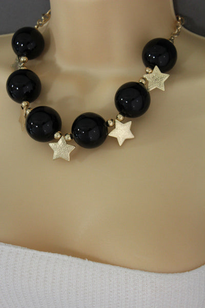 Black / Silver / Gold / Red / White Metal Stars Ball Beads Short Ivory Necklace + Earring Set New Women Fashion Jewelry - alwaystyle4you - 20