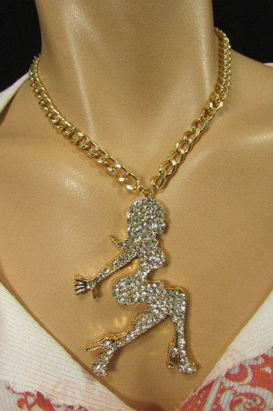 Gold Metal Chains Fashion Necklace Big Silver Rhinestone Sexy woman Shape Pendant New Men Fashion - alwaystyle4you - 5