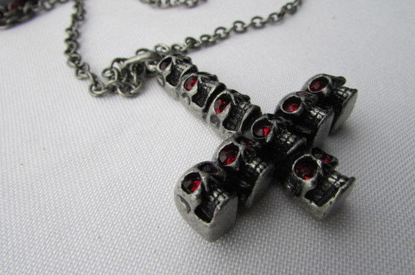 "Biker Fashion 14"" Long Necklace Rusty Silver Chain Skulls Cross Rocker Upside Down New Men Style - alwaystyle4you - 9"