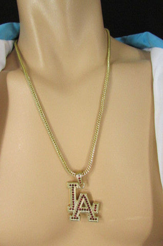 "Gold Silver Pewter Metal Chains 25"" Long Necklace Pewter Big LA Pendant New Men Fashion - alwaystyle4you - 17"