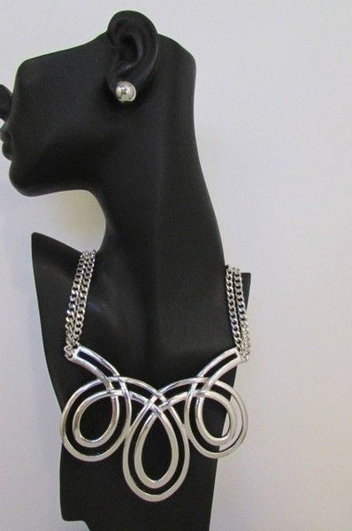 Gold / Silver Twisted 3 Drops Chain Necklace + Earring Set New Women Chunky Fashion - alwaystyle4you - 4