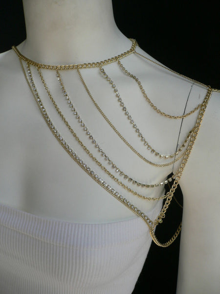 New Women Casual Gold Metal Long Chain One Side Shoulders Body Chain Necklace Fashion Jewelry Clear Rhinestones - alwaystyle4you - 9