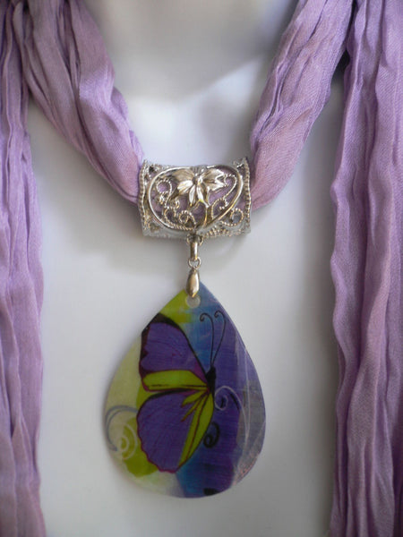 Lavander Scarf Necklace Big Seashell Pendant Purple Butterfly New Women Fashion - alwaystyle4you - 4