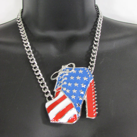 Large Metal High Heels Shoes Pendant Fashion Chains Gold / Silver Rhinestones American Flag USA Stars Necklace + Earrings Set - alwaystyle4you - 9