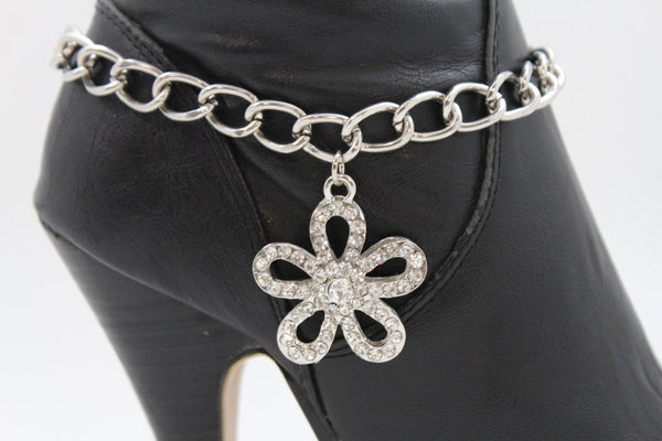 Silver Boot Chain Bracelet Link Big Flower Anklet Shoe Bling Charm New Women Western Fashion Accessories - alwaystyle4you - 4