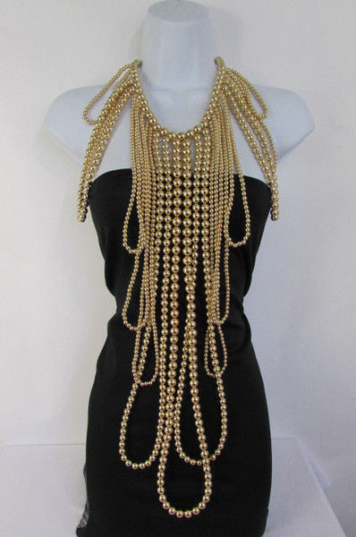 "Gold Chain Multi Ball Beads Unique Statement 30"" Extra Long Necklace Earrings Set New Women Fashion Accessories"