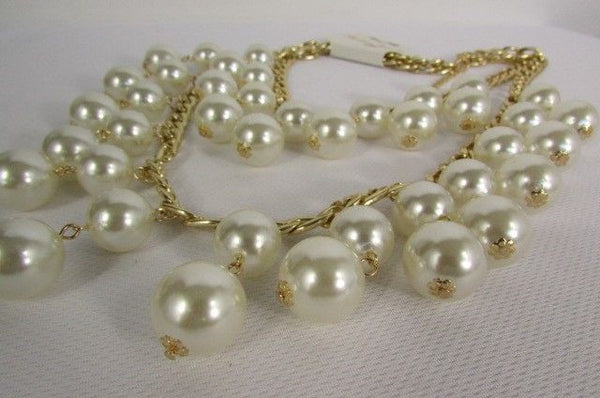 Gold Metal Long Double Chains 2 Strands Big Pearl Beads New Women - alwaystyle4you - 2