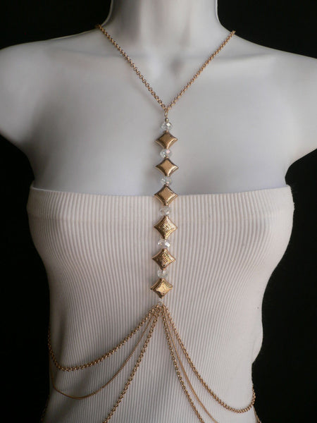 New Women Gold Square Clear Beads Long Metal Body Chain Moroccan Fashion Jewelry - alwaystyle4you - 4