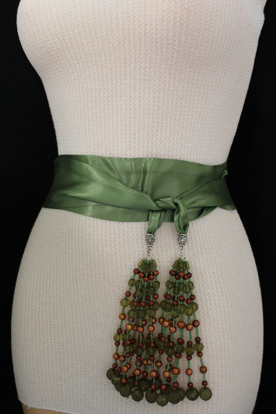 Cream - Off White / Light Purple / Green Long Tie Fringe Beads Hip Waist Belt Scarf New Women Fashion Accessories - alwaystyle4you - 30