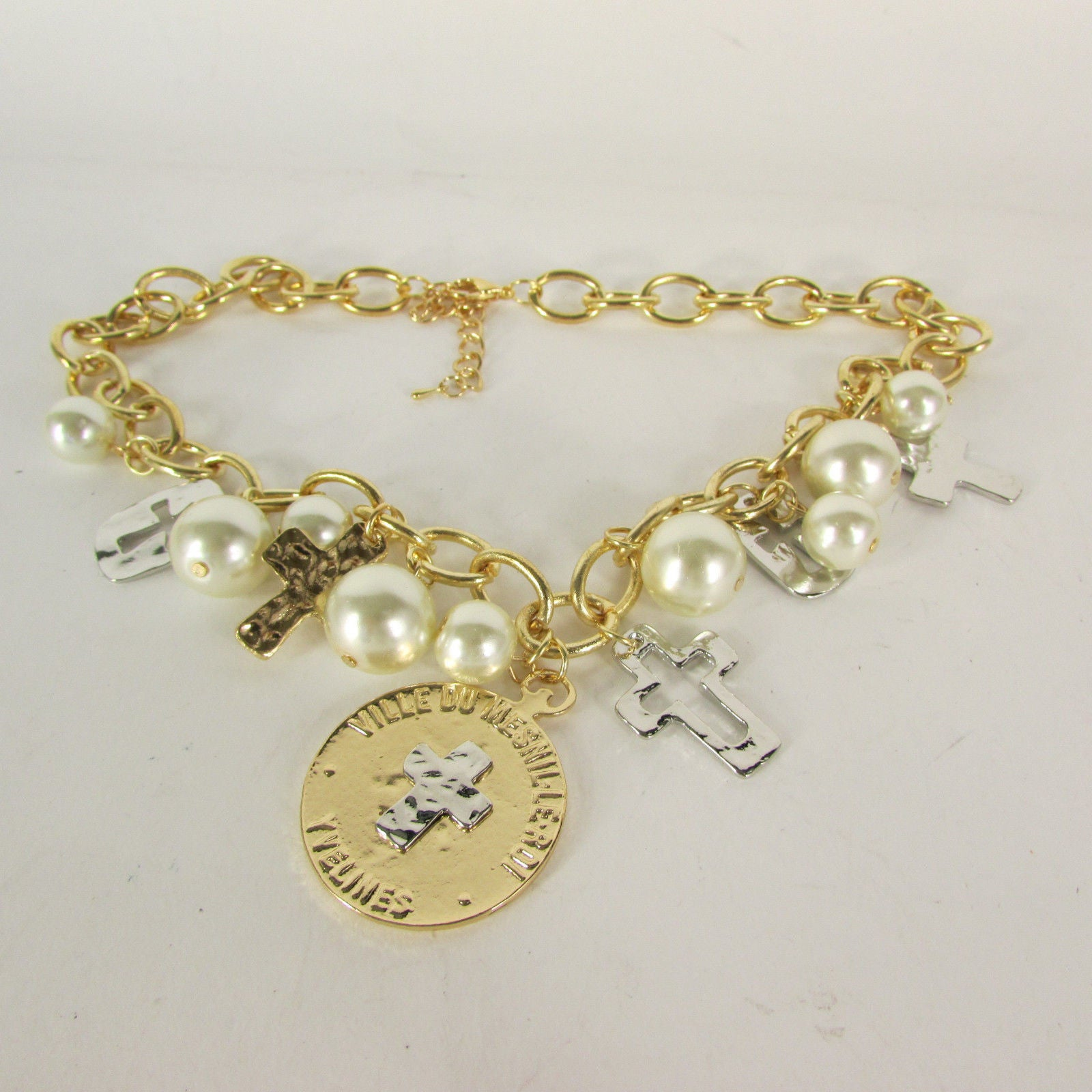 Gold Metal Chains Necklace Coin Cross Charms Imitation Pearls ...