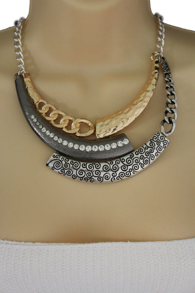 Gold Black / Silver Black Metal Plate Half Moon Necklace Chains + Earrings Set New Women Fashion Jewelry - alwaystyle4you - 4
