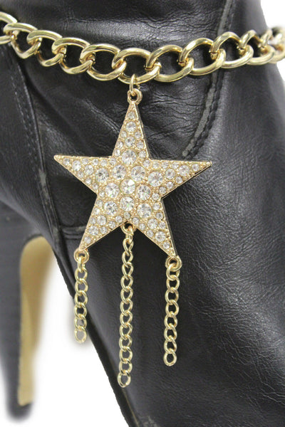 Gold Silver Metal Chain Big Falling Star Anklet Shoe Charm New Women Western Boot Bracelet - alwaystyle4you - 19