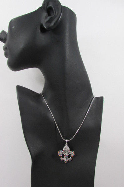 Silver Metal Fleur De Lis Lily Flower Bull Colorfull Rhinestones/ Silver Necklace New Women Fashion - alwaystyle4you - 4