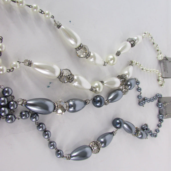 Long Imitations Pearls Necklace Small Gray Beads Beige Silver Color + Earrings Set New Women Fashion - alwaystyle4you - 4