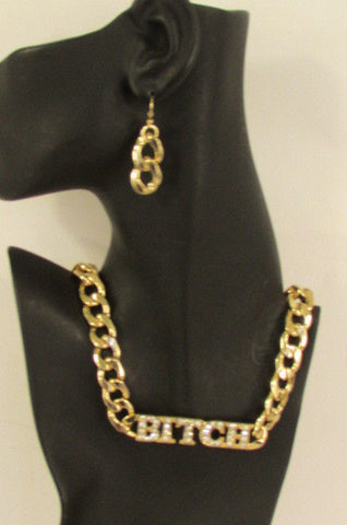 Gold Metal Chain Necklace Bitch Pendant Rhinestones + Earrings Set New Women Fashion - alwaystyle4you - 10